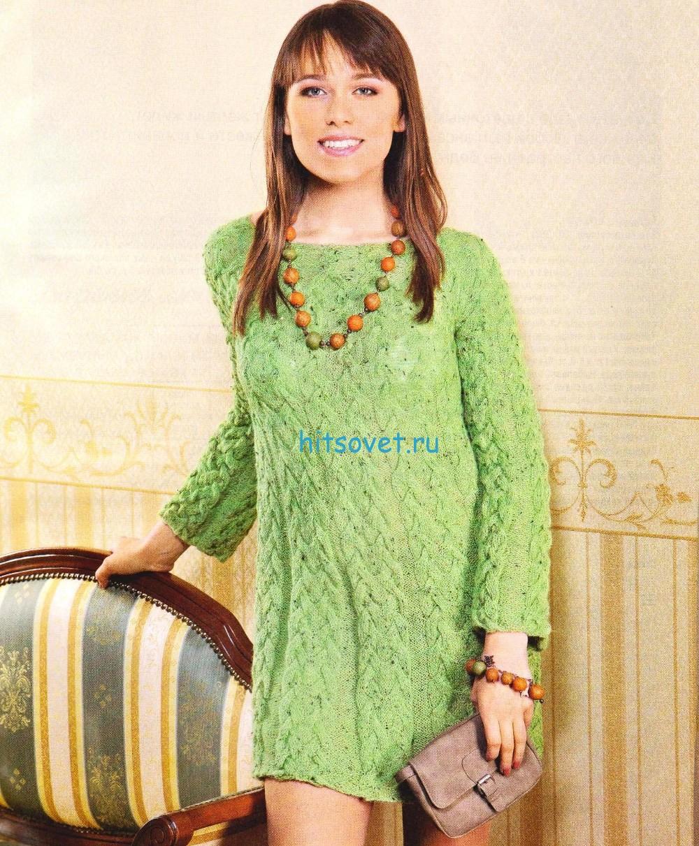 Платье спицами в зеленом цвете