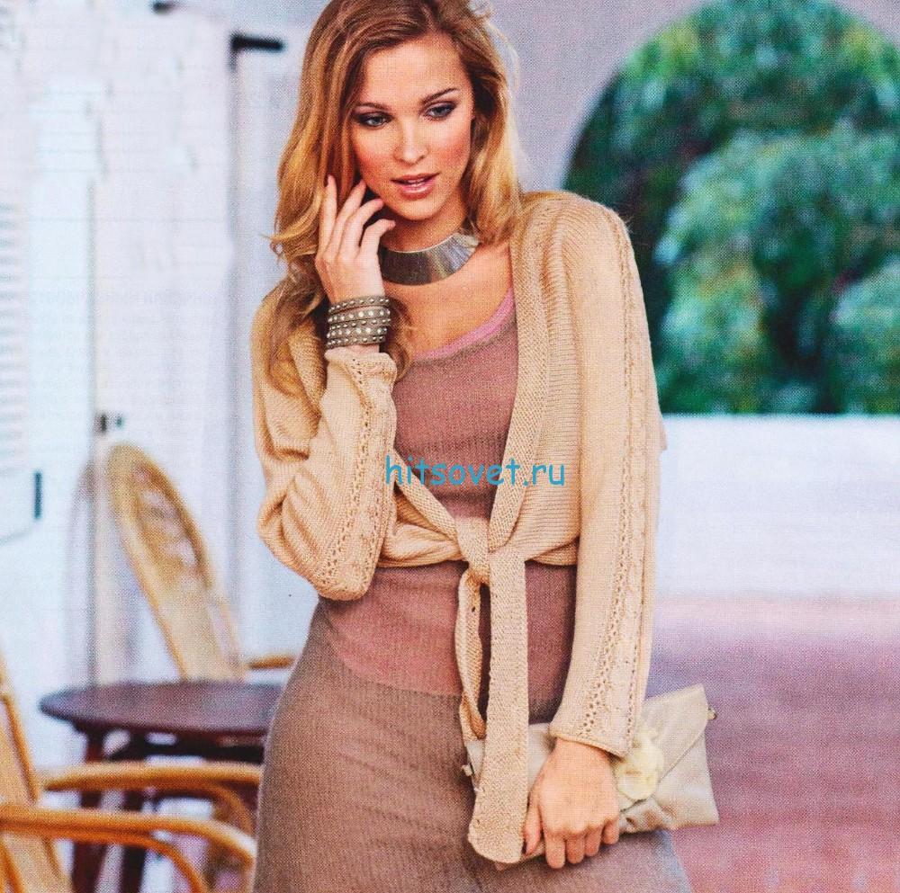 Вязаное платье и болеро спицами