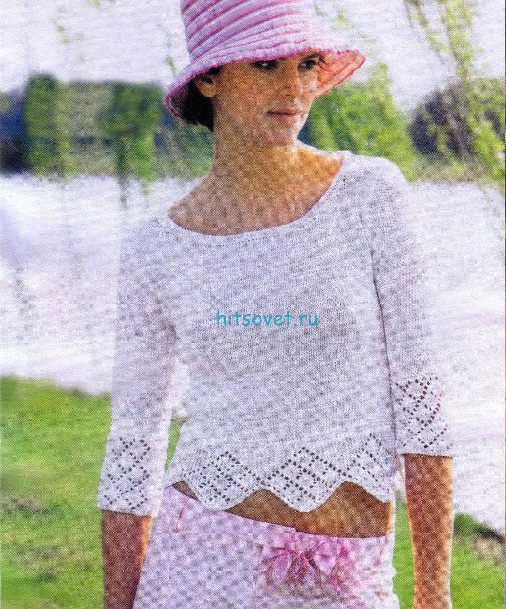 Белый пуловер спицами из хлопка