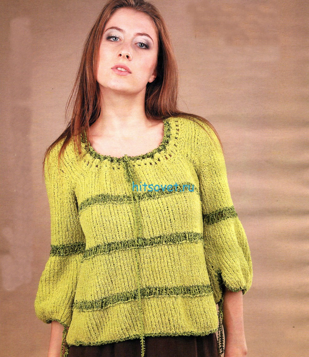 Вязание пуловера в деревенском стиле