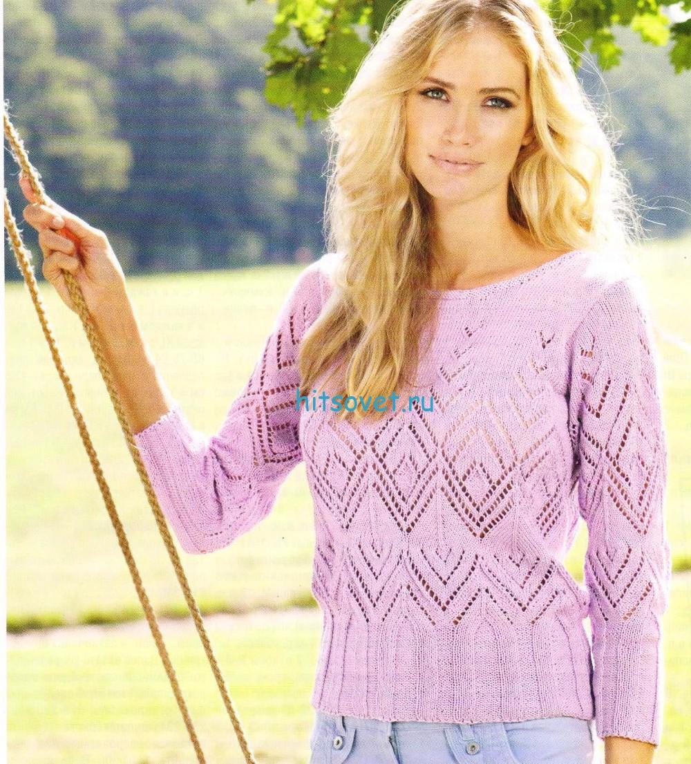 Ажурный сиреневый пуловер спицами
