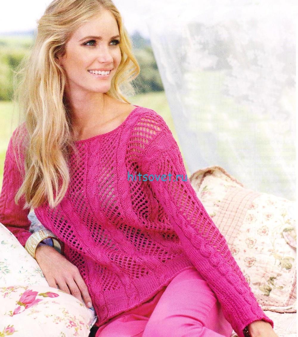 вязание летнего пуловера спицами