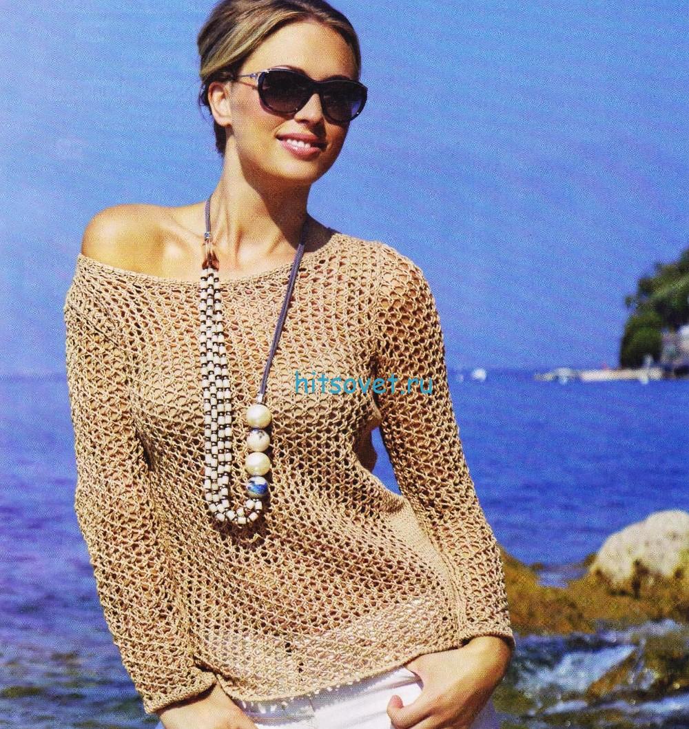 Женский летний пуловер из бежевой пряжи