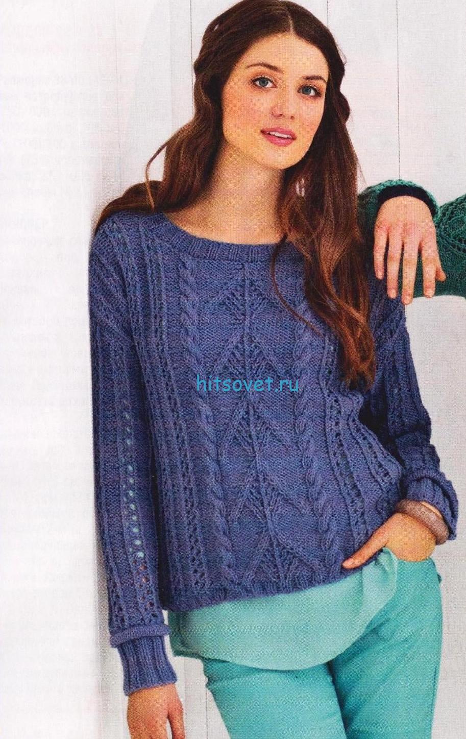 Вязаный пуловер в стиле деним