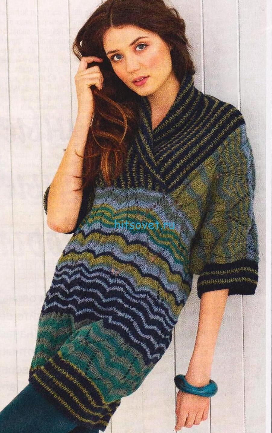 Вязаный пуловер в стиле Миссони