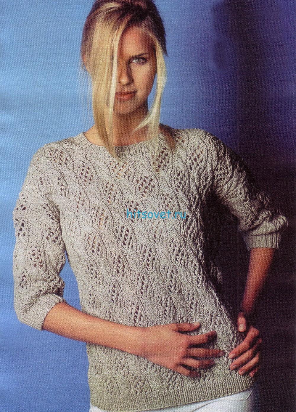 Женский вязаный пуловер из хлопка