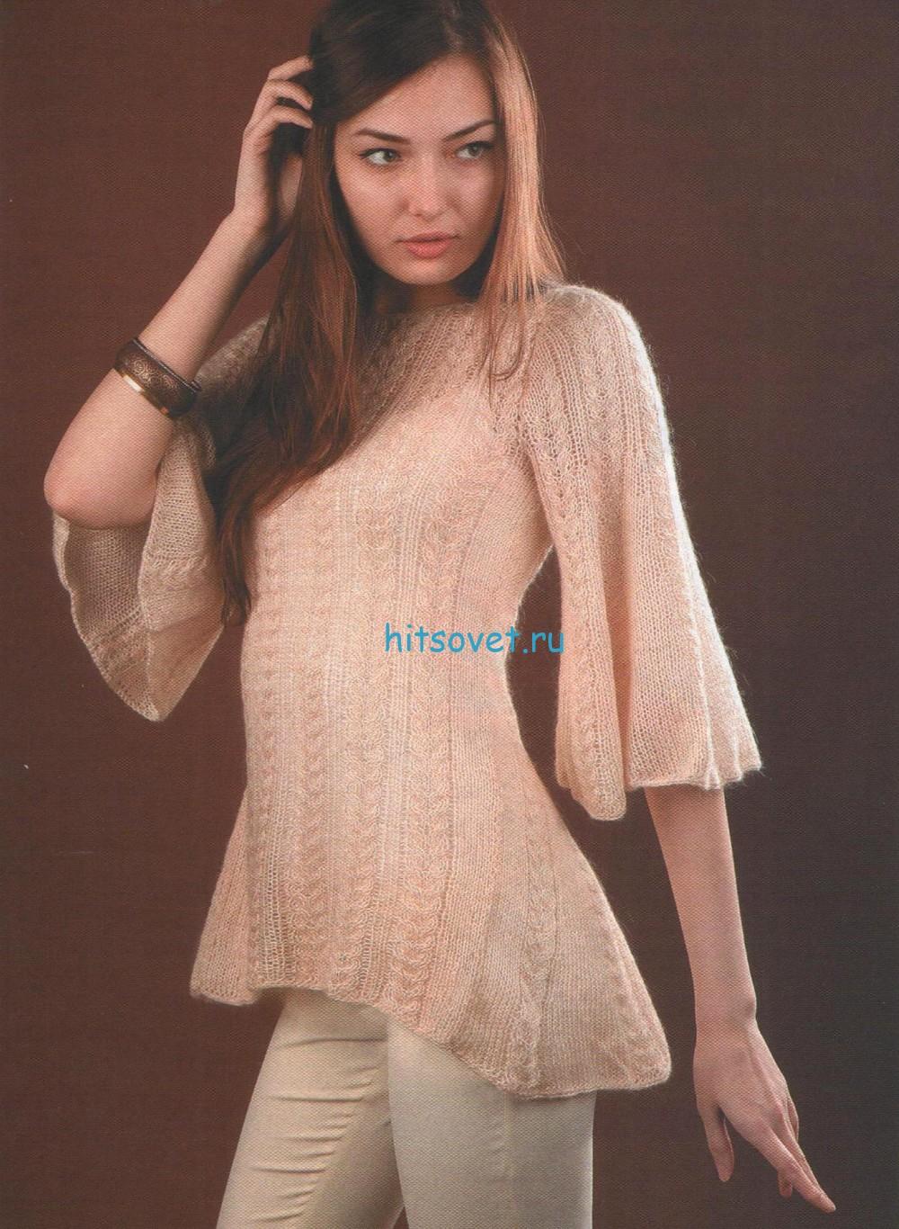 Вязаный пуловер со шлейфом
