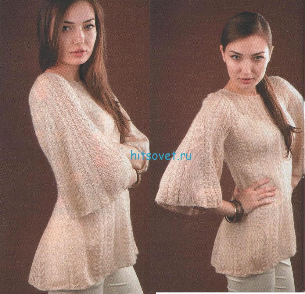 Вязаный пуловер со шлейфом, фото 2.
