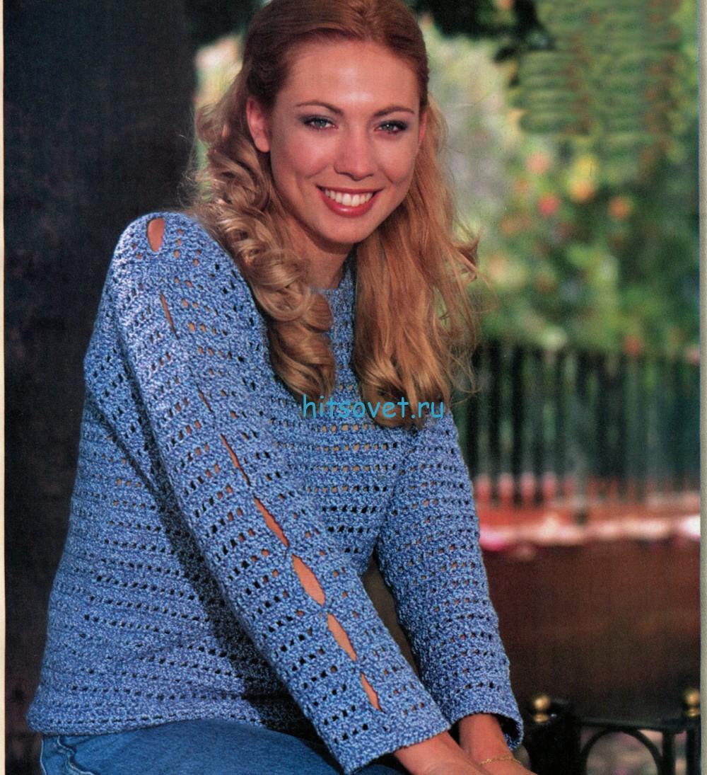Вязание пуловера крючком схема
