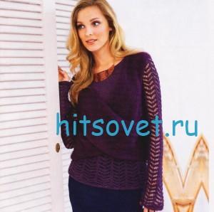Вязаный пуловер и накидка спицами
