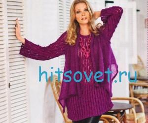 Вязаный пуловер и шаль спицами