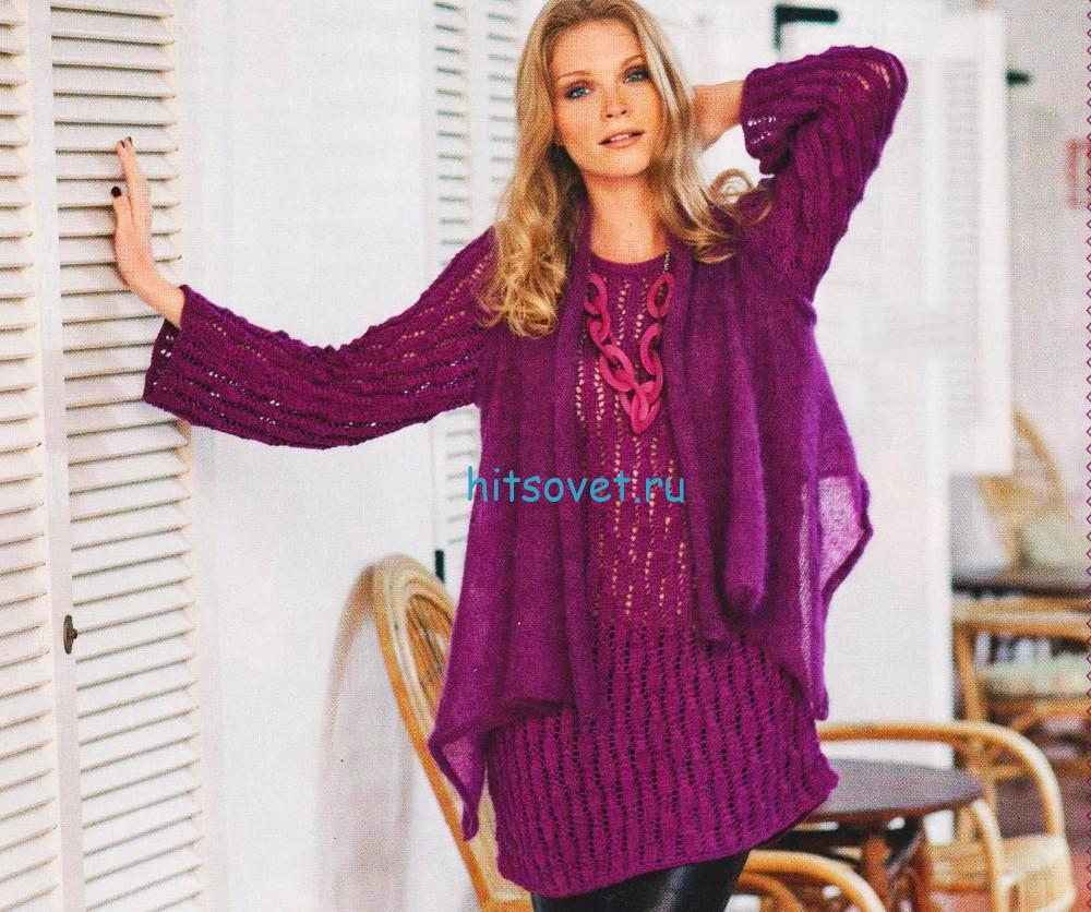 Пуловер и шаль спицами