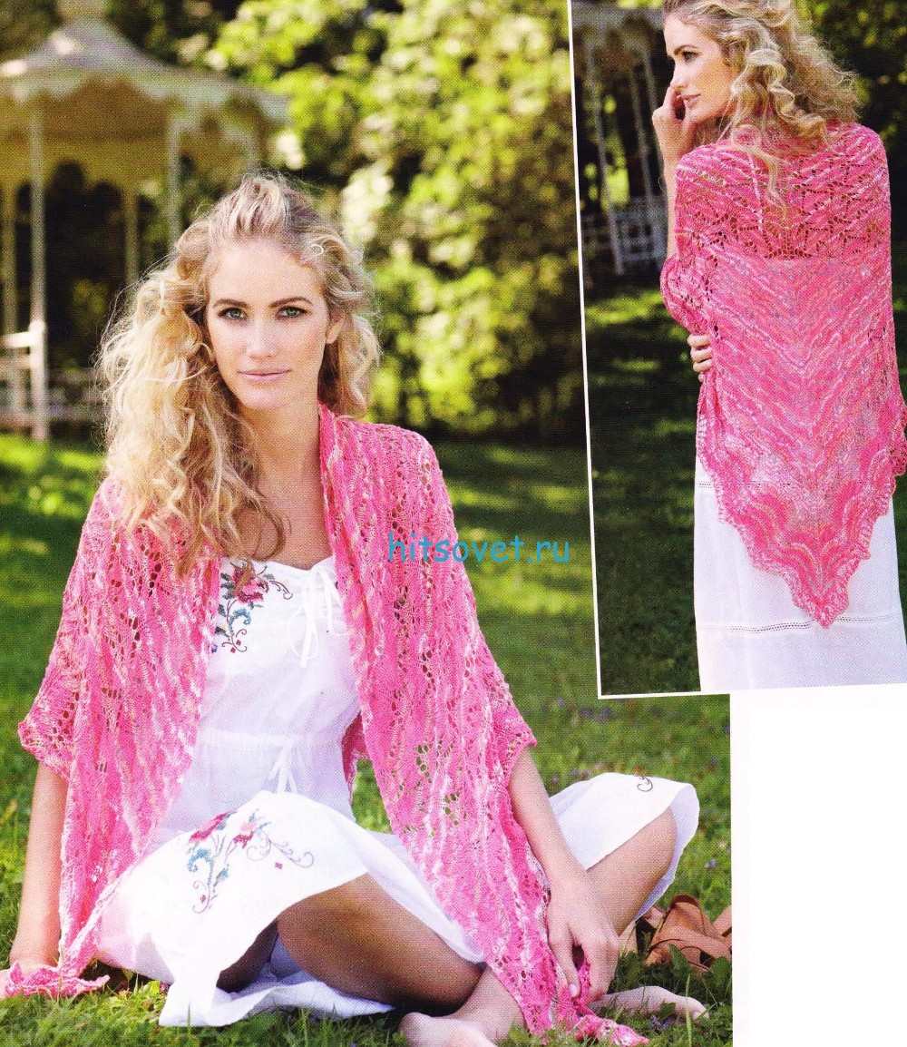 Вязание шали спицами