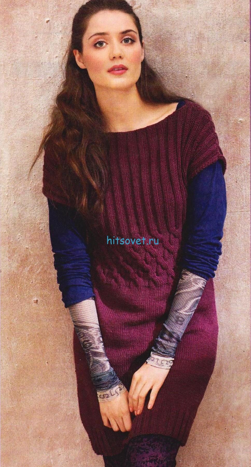 Вязание бордовой туники с косами, фото.
