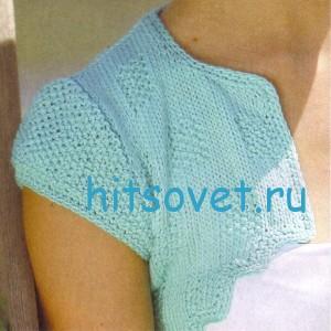 Бирюзовое болеро спицами, фото 2.