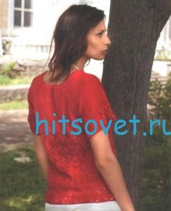 Красная кофта крючком для женщин, фото 2.