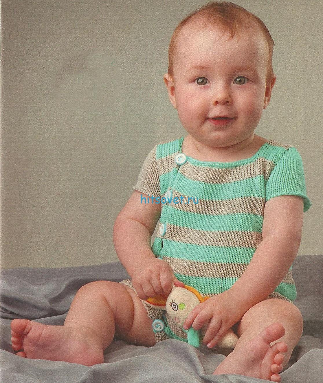 Вязание детского комбинезона спицами