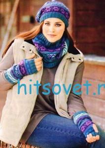 Вязание пончо, шапки, хомута и митенок, фото 2.