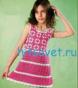 Платье для девочки крючком из пряжи Jeans