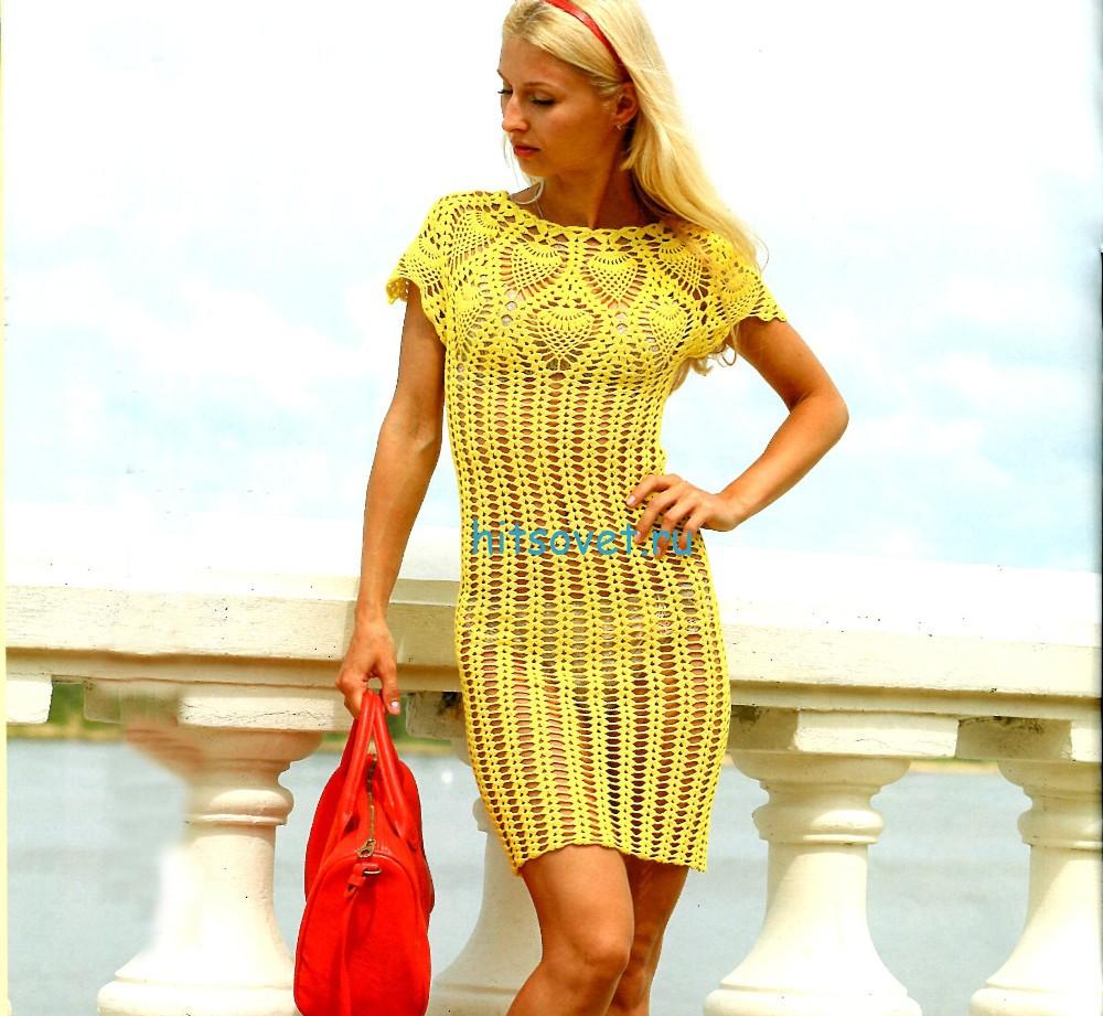 Ажурное мини платье крючком