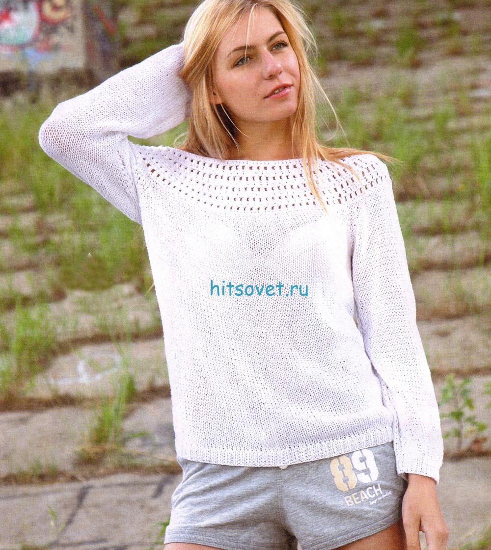 Белый пуловер вязаный