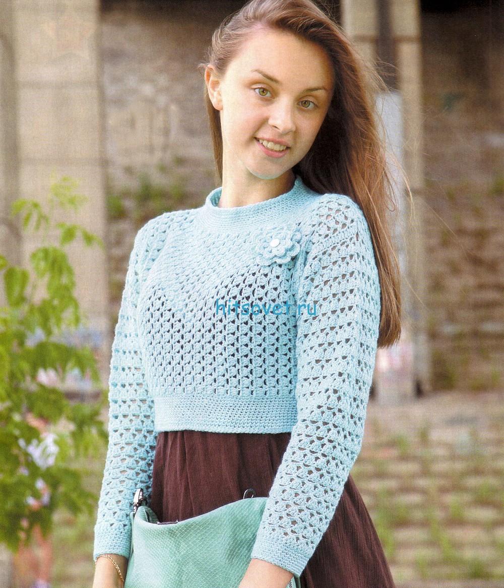 Короткий ажурный пуловер крючком