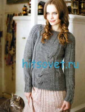 Вязаный пуловер с косами схема