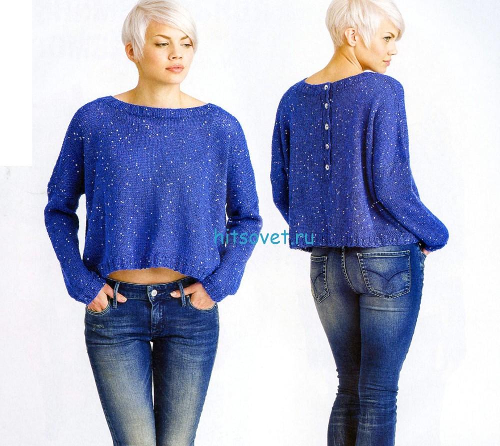 Короткий свободный пуловер спицами