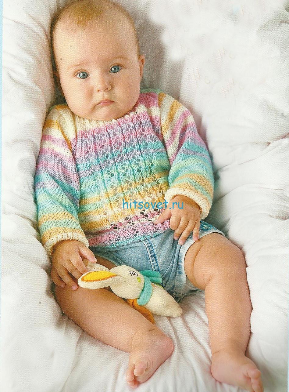 Вязание для новорожденных пуловера