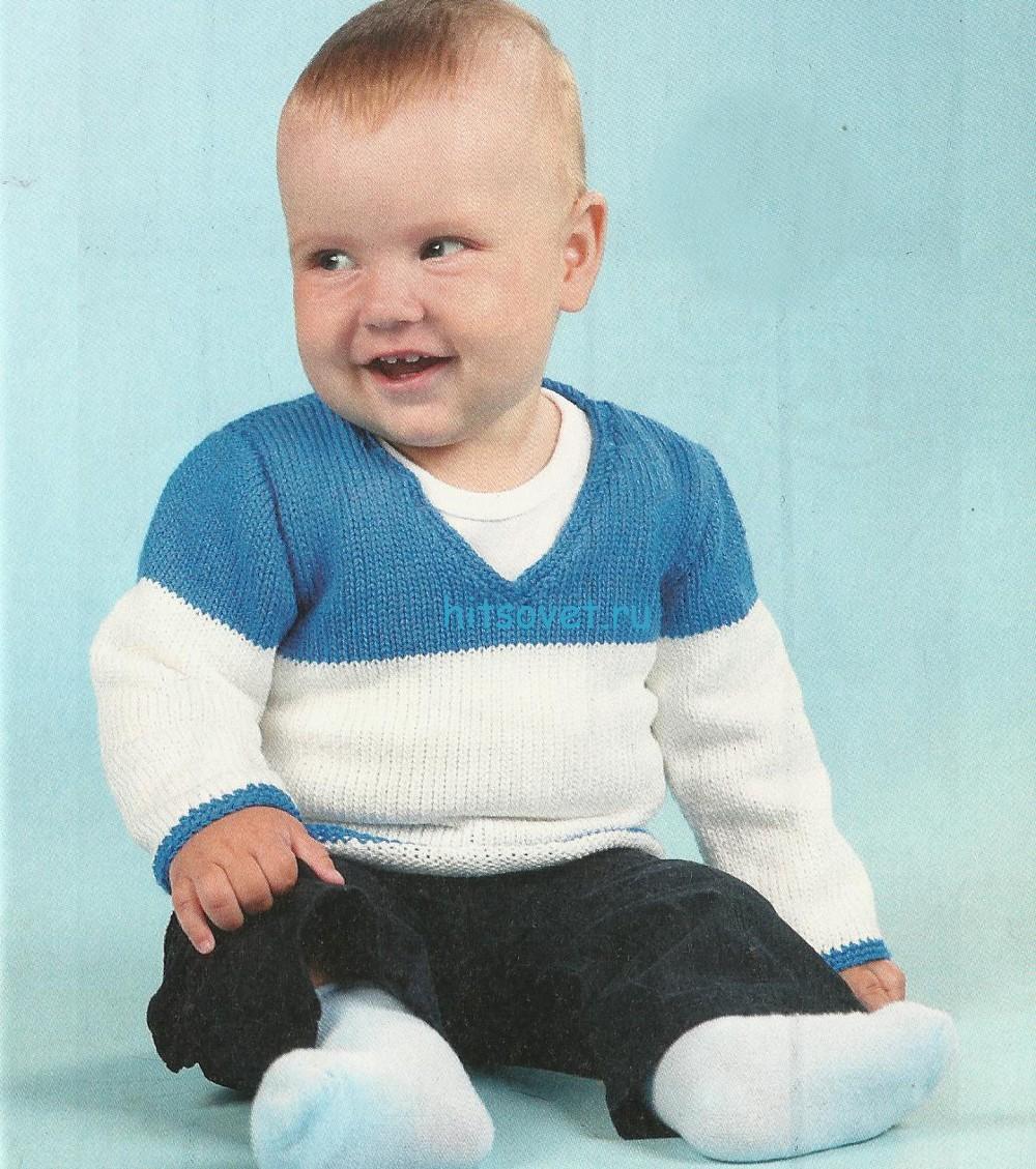 Вязаный пуловер для малышей