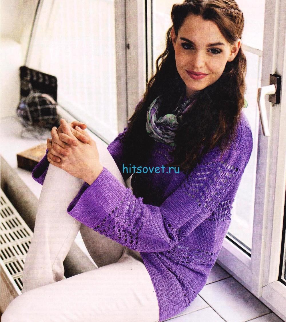Вязаный пуловер крючком схемы