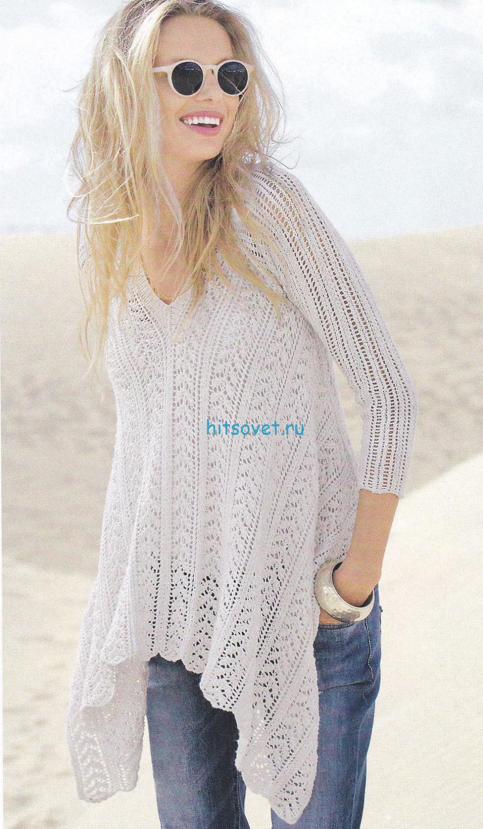 Вязание спицами пуловера с асимметричным краем