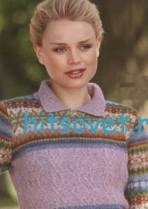 Вязаный пуловер с жаккардом и аранами, фото 2.