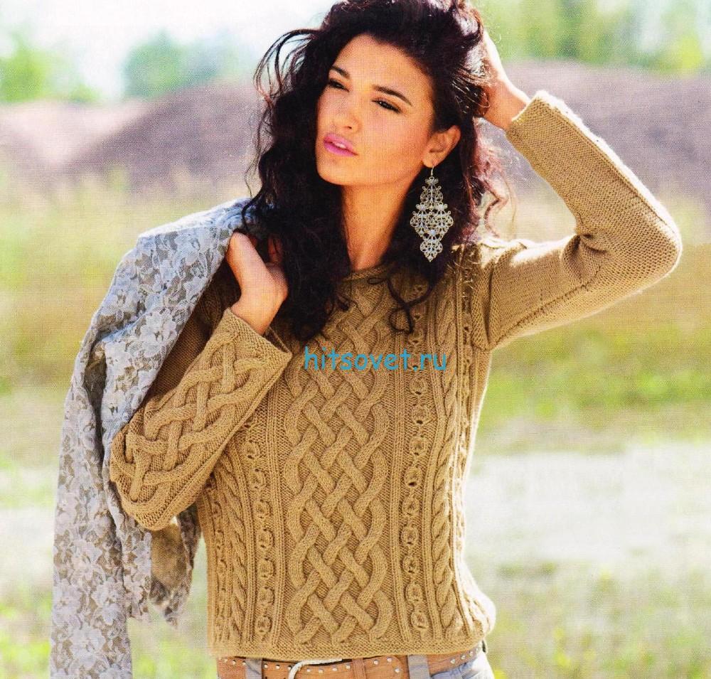 Вязаный пуловер с косами и шишечками