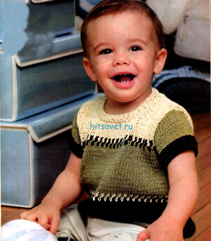 Вязание для мальчиков пуловера с короткими рукавами