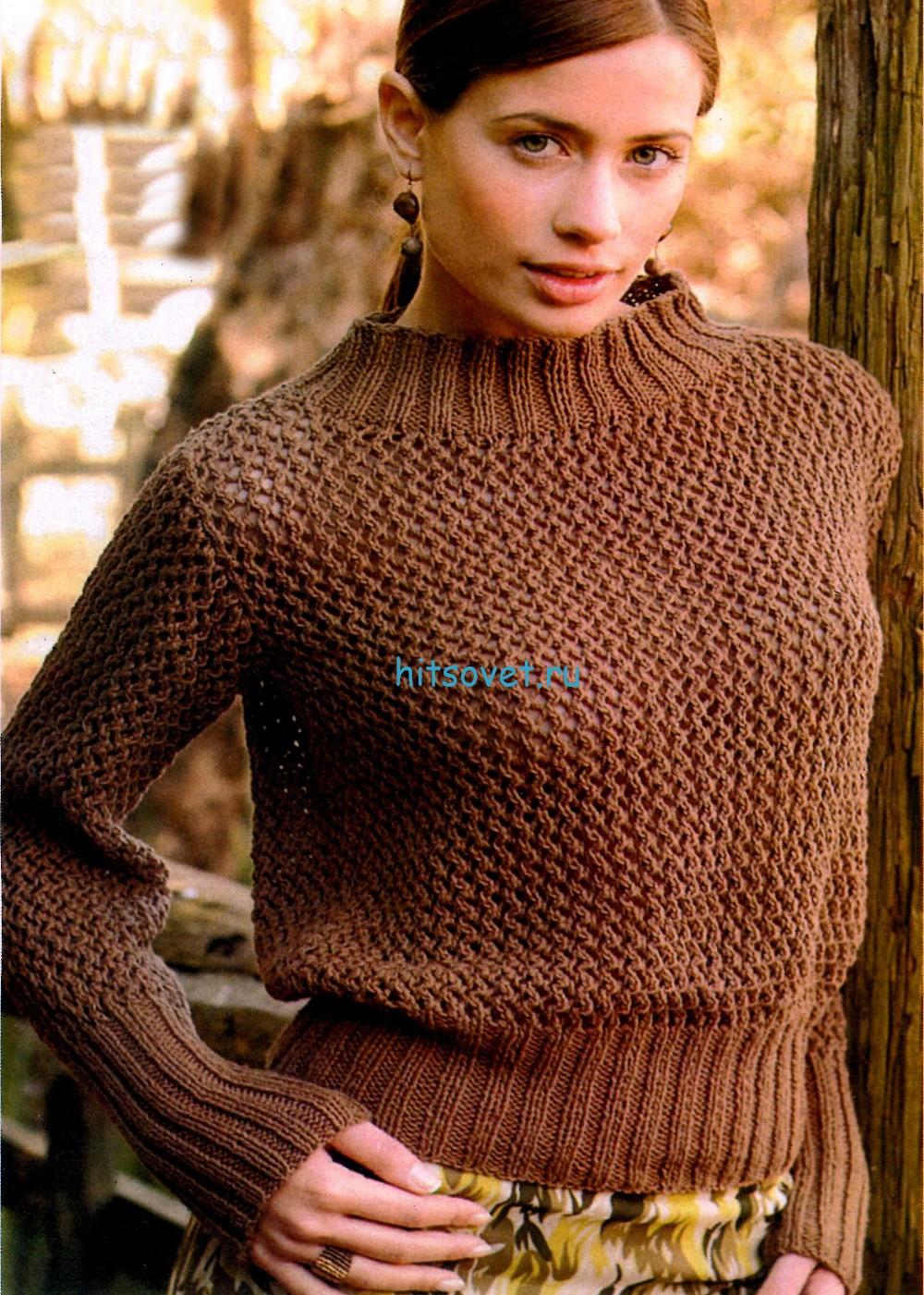 Вязаный пуловер шоколадного цвета