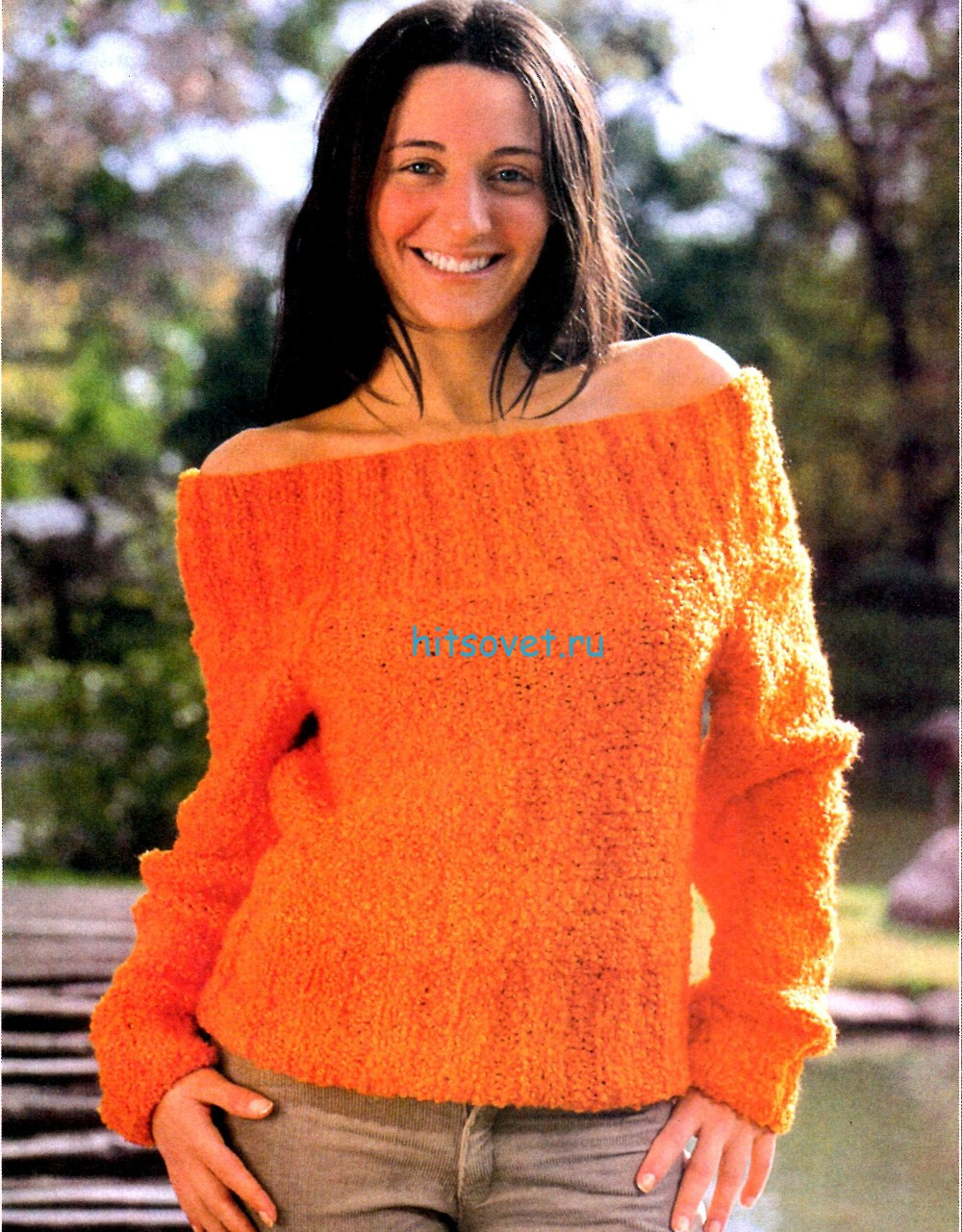 Оранжевый вязаный пуловер спицами, фото.