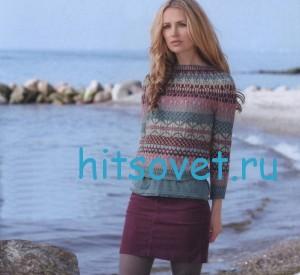 Вязаный пуловер с жаккардом, фото.