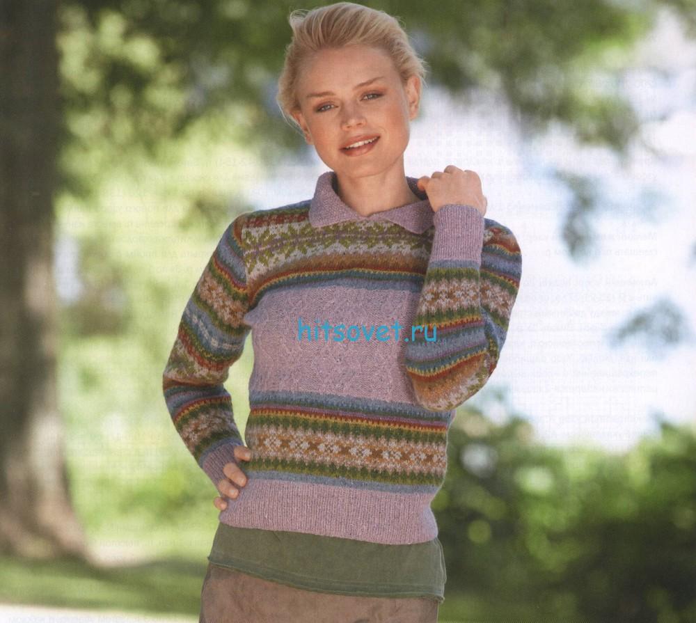 Вязаный пуловер с жаккардом и аранами