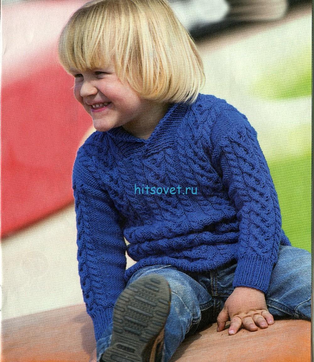 Вязание для мальчиков узорчатого пуловера спицами
