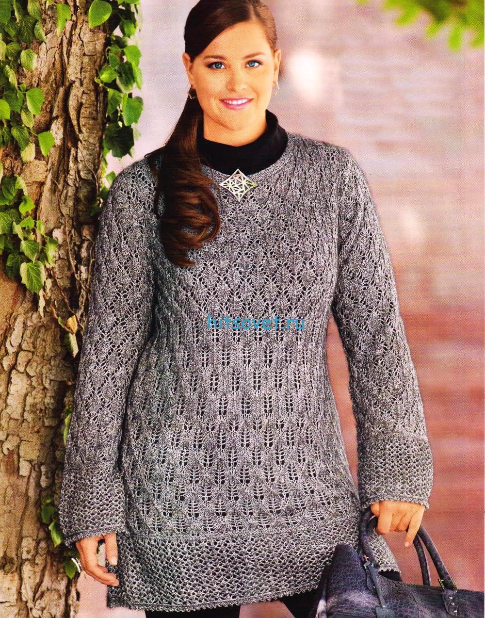 Ажурный вязаный пуловер, фото.