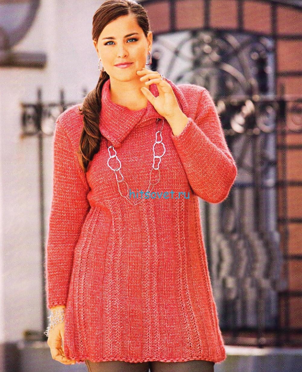 Вязаный пуловер с асимметричным воротником