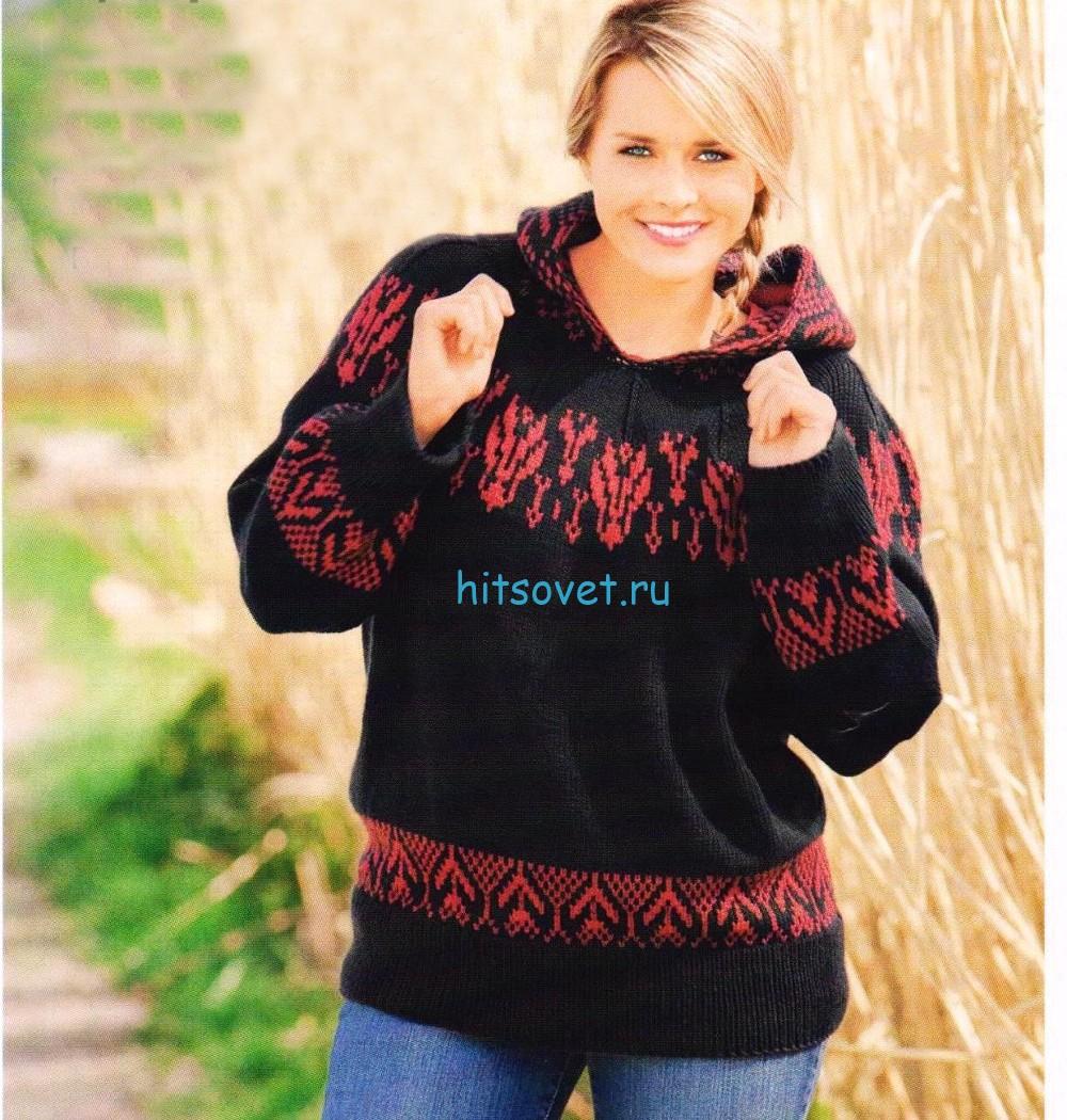 Вязаный пуловер с капюшоном для полных