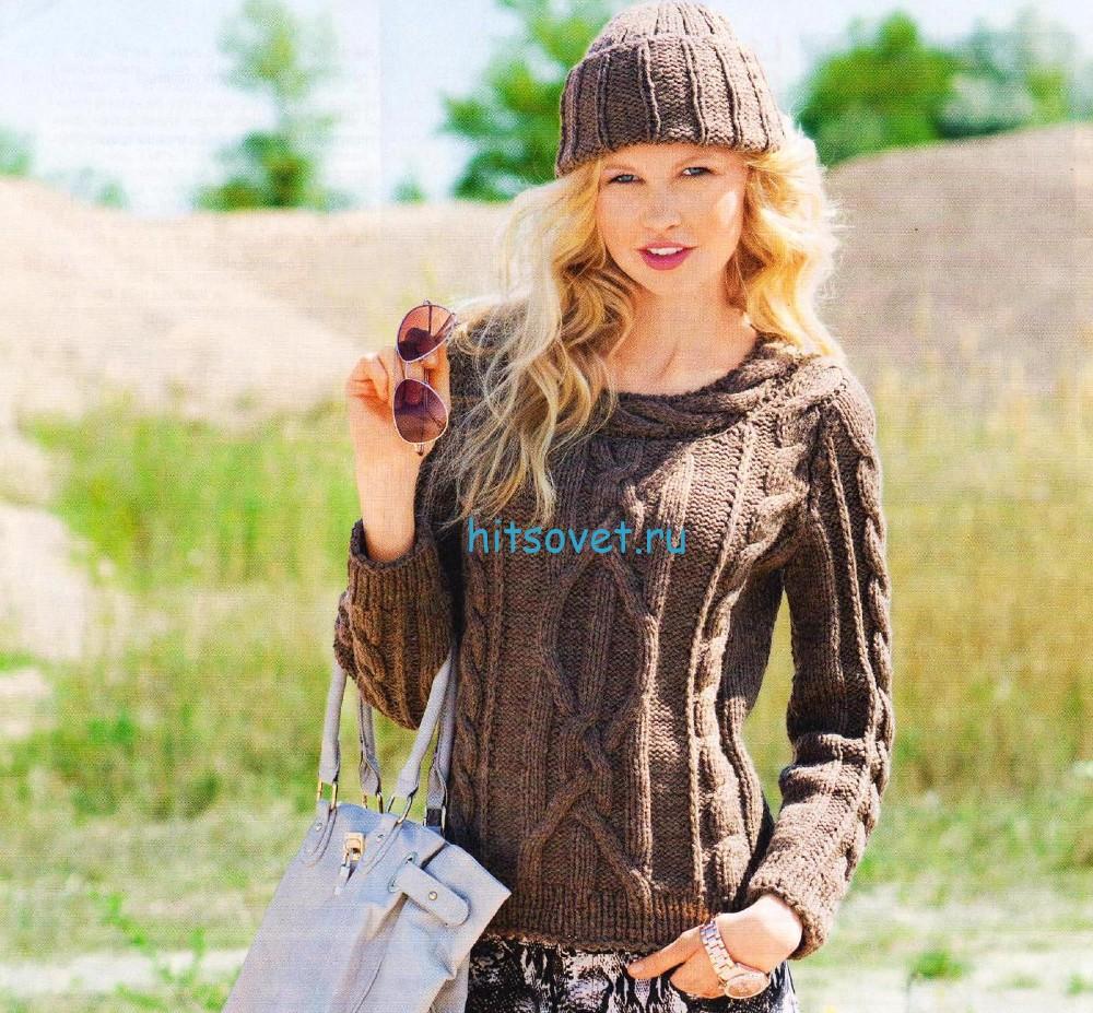 Вязание пуловера с косами и шапочки, фото.