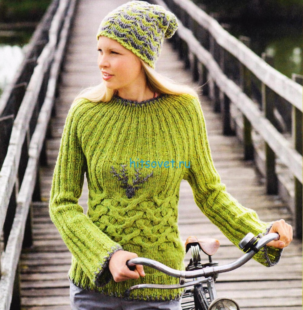 Вязание пуловера  и шапочка с красивым узором, фото.