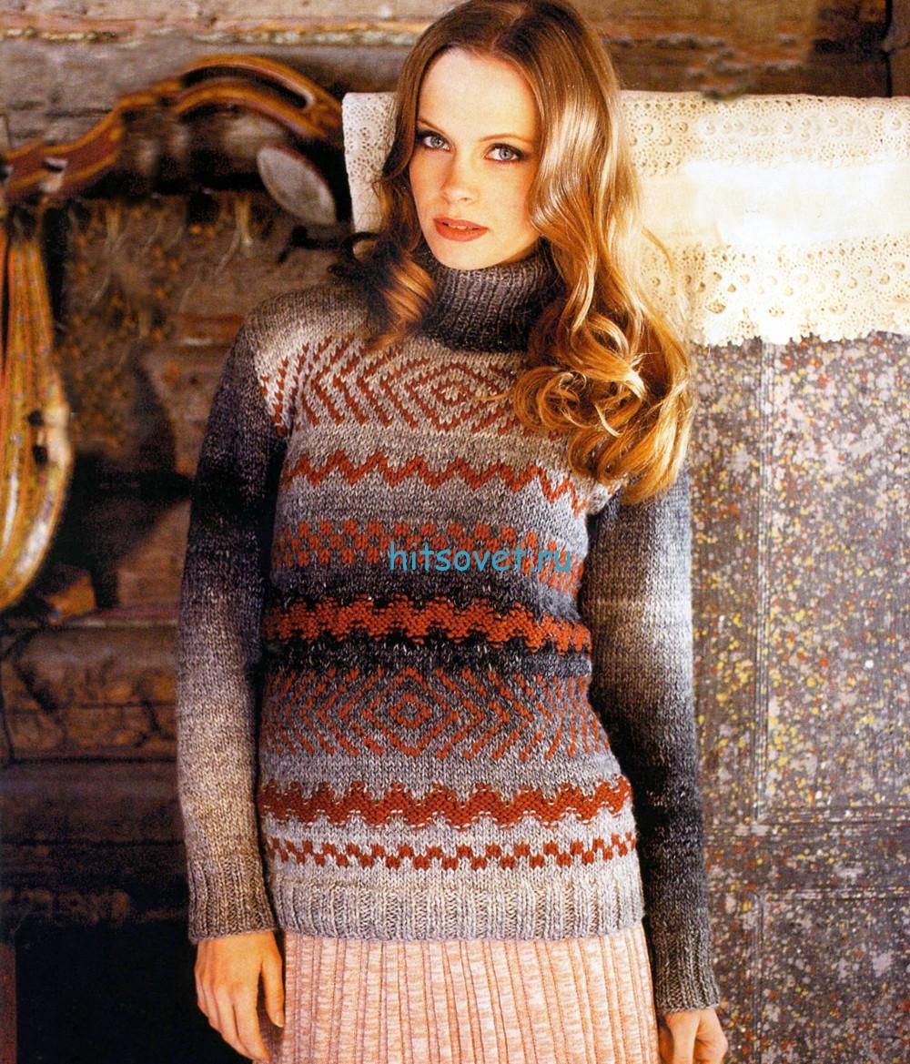 Вязаный свитер с орнаментом