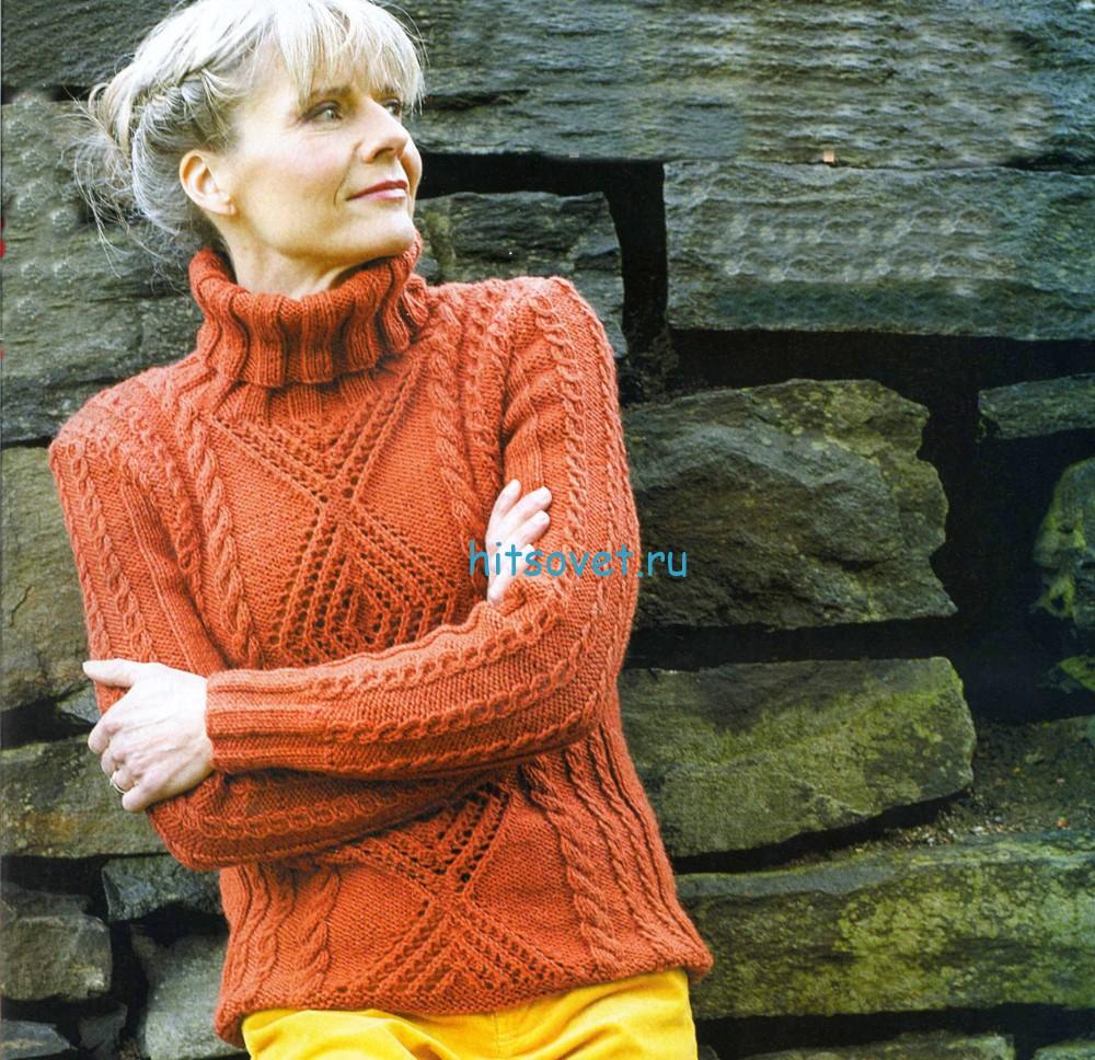 Терракотовый свитер спицами, фото.