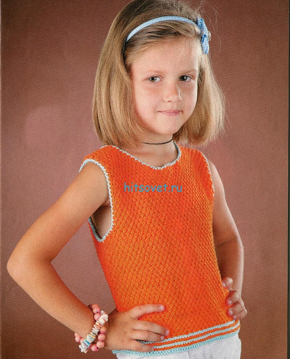 Вязаный топ для девочки 5 лет