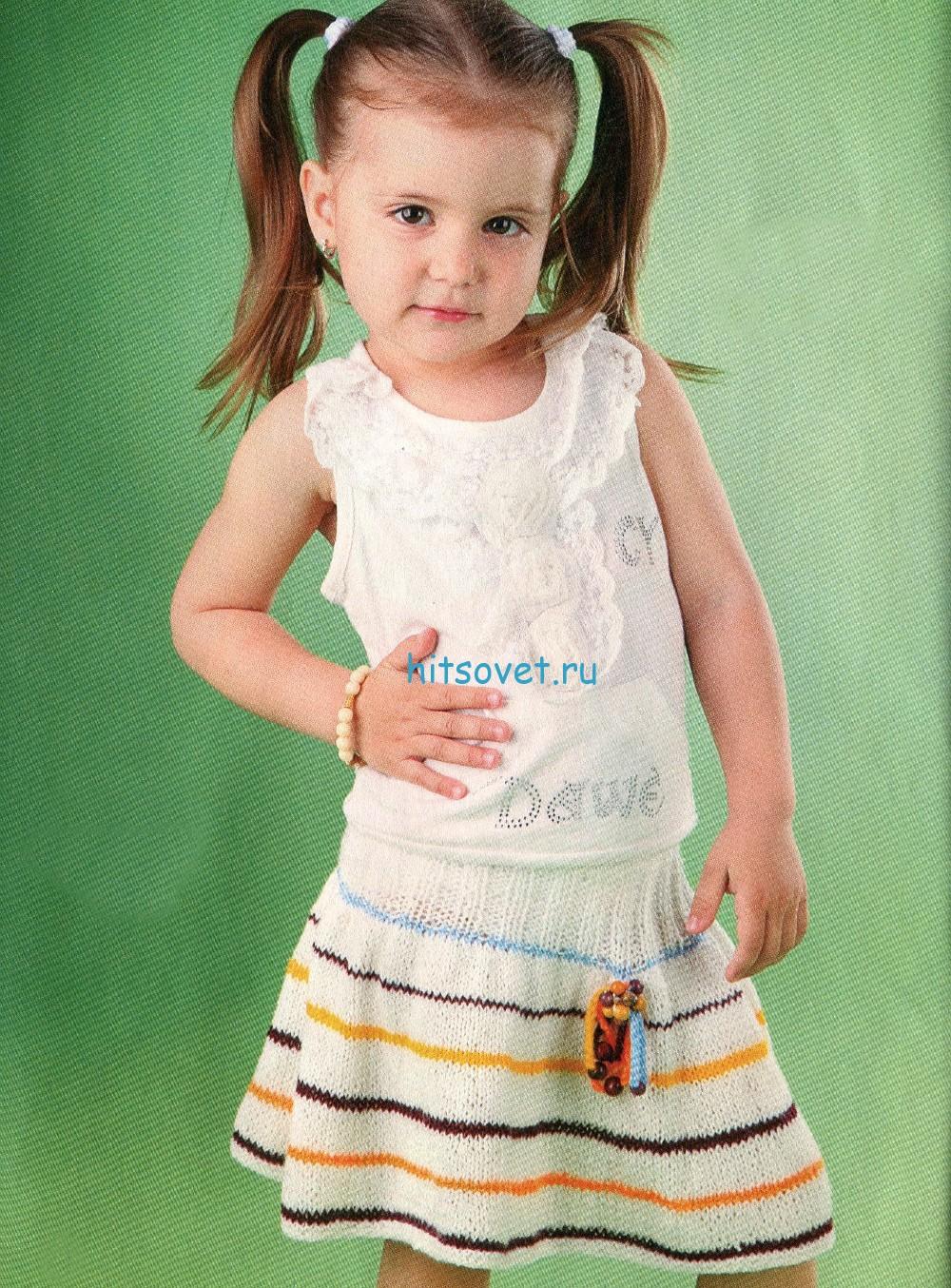 Вязаная юбка для девочки на 2-3 года