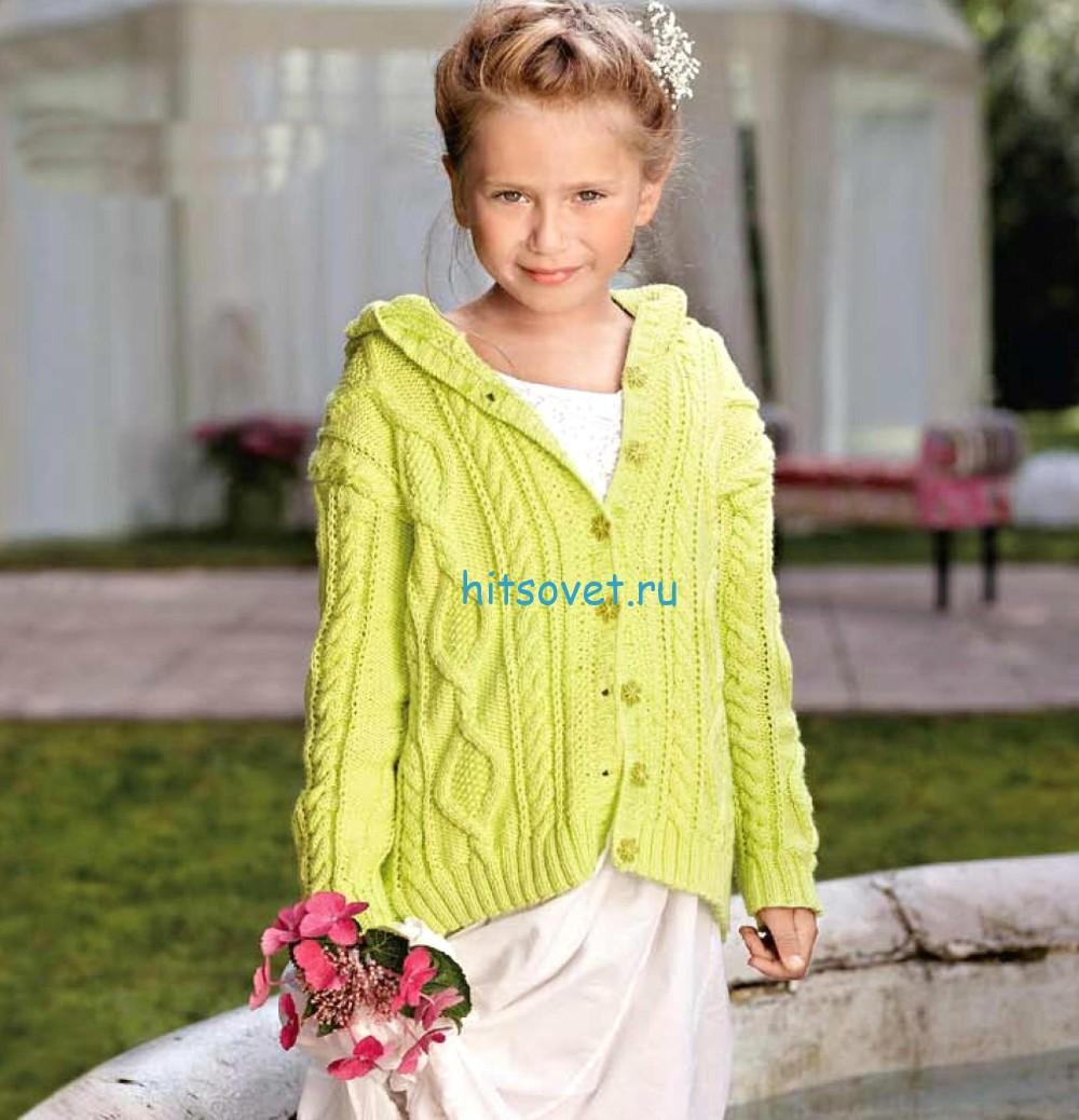 Вязание для девочки желтого жакета с косами